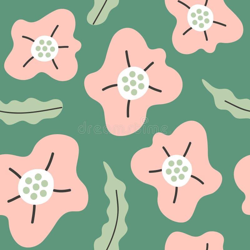 Modello senza cuciture semplice con i fiori disegnati a mano astratti illustrazione vettoriale