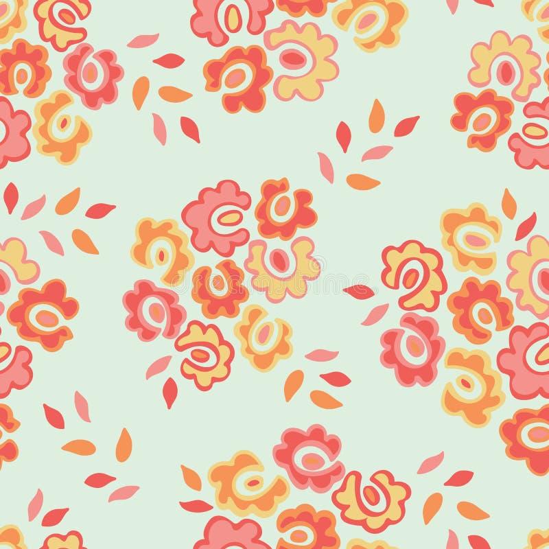 Modello senza cuciture semplice con i fiori svegli di scarabocchio Sottragga la priorità bassa floreale Illustrazione per progett royalty illustrazione gratis