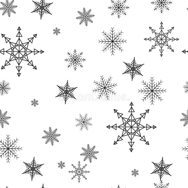 Modello senza cuciture semplice del fiocco di neve Neve nera su fondo bianco Carta da parati astratta, avvolgente decorazione Sim illustrazione di stock