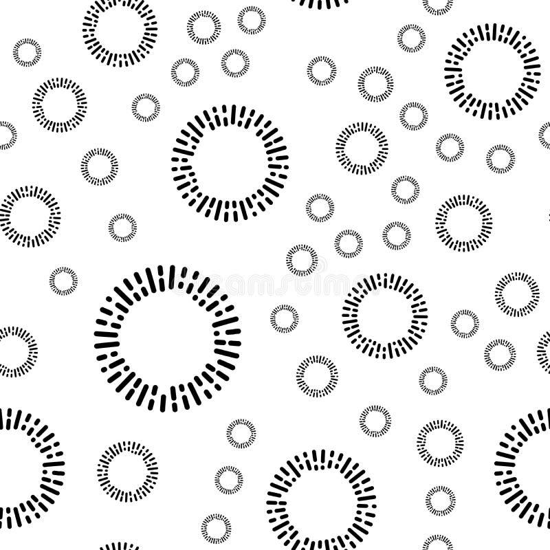 Modello senza cuciture semplice del tessuto con gli elementi rotondi neri Fondo di vettore royalty illustrazione gratis