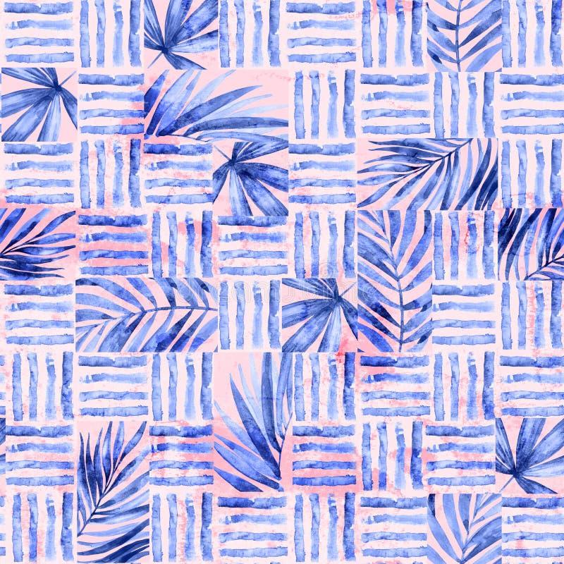 Modello senza cuciture semplice dell'acquerello Blocchi di foglie e di linee tropicali fondo immagine stock libera da diritti