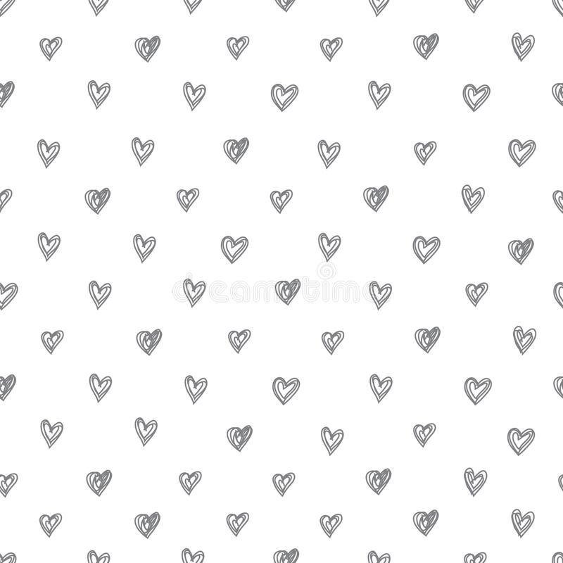 Modello senza cuciture semplice di vettore dei cuori disegnati a mano astratti su un fondo bianco illustrazione vettoriale
