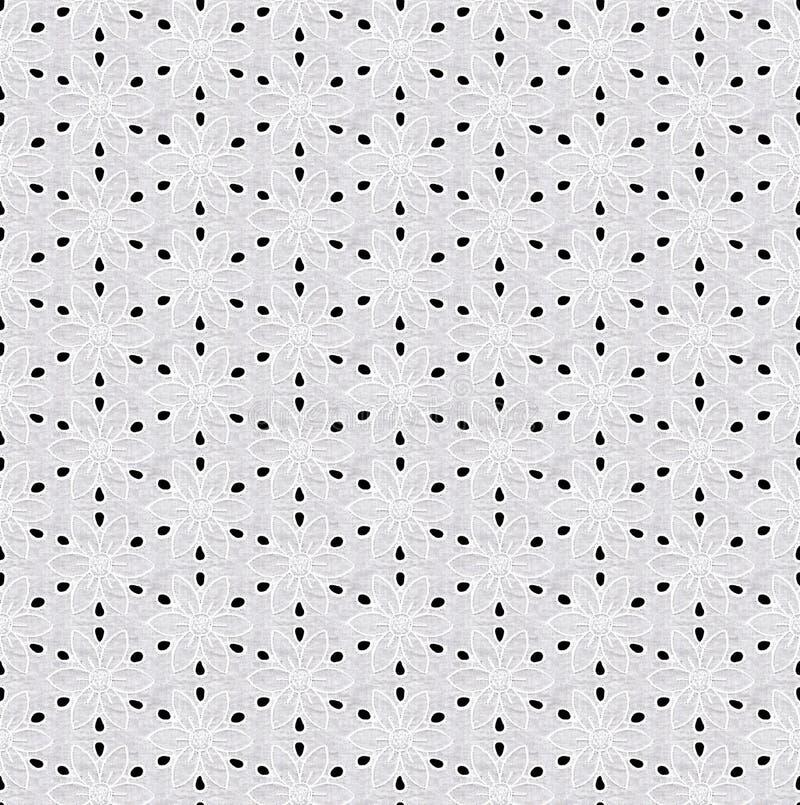 Modello senza cuciture sotto forma di pizzo bianco su un fondo nero Pizzo con i motivi floreali illustrazione di stock