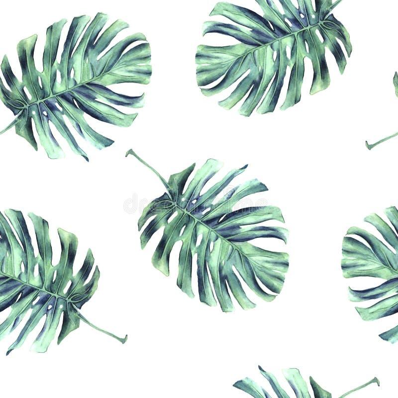 Modello senza cuciture sparso del mostro delle foglie illustrazione di stock