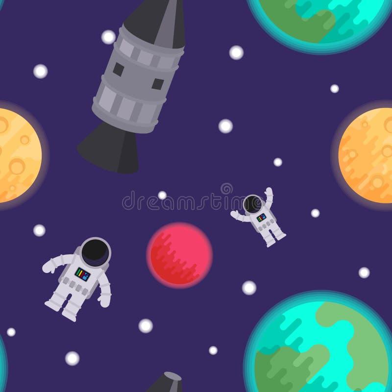Modello senza cuciture: spazio con la luna, i pianeti, i razzi e gli astronauti Illustrazione piana di vettore illustrazione di stock