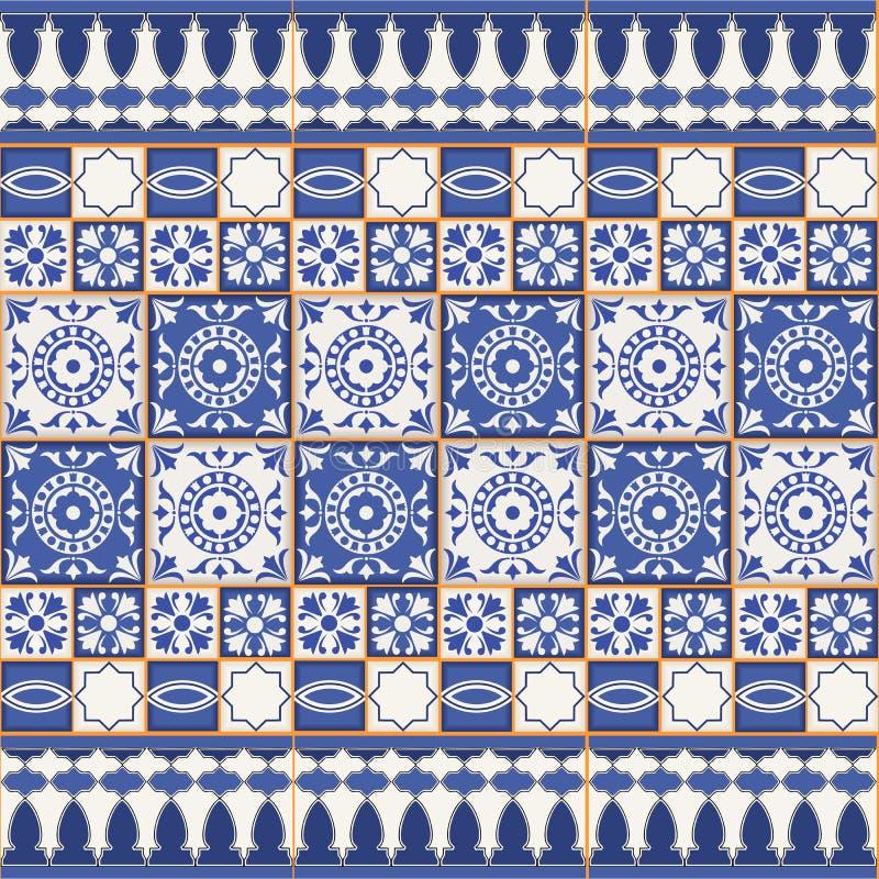 Modello senza cuciture splendido dalle mattonelle e dal confine Marocchino, portoghese, ornamenti di Azulejo illustrazione di stock