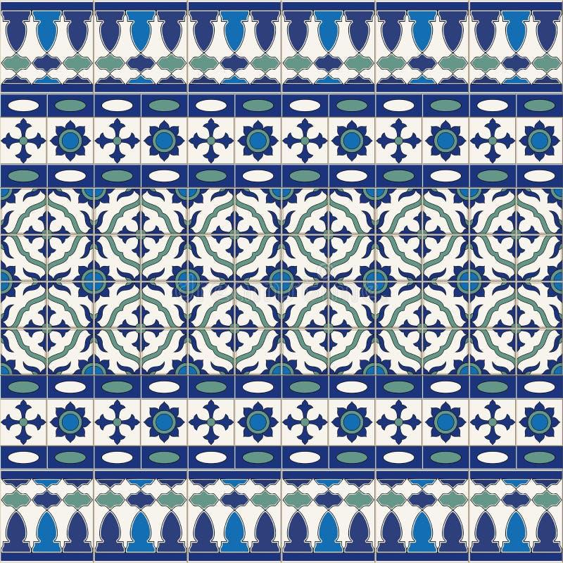 Modello senza cuciture splendido dalle mattonelle e dal confine Marocchino, portoghese, ornamenti di Azulejo illustrazione vettoriale
