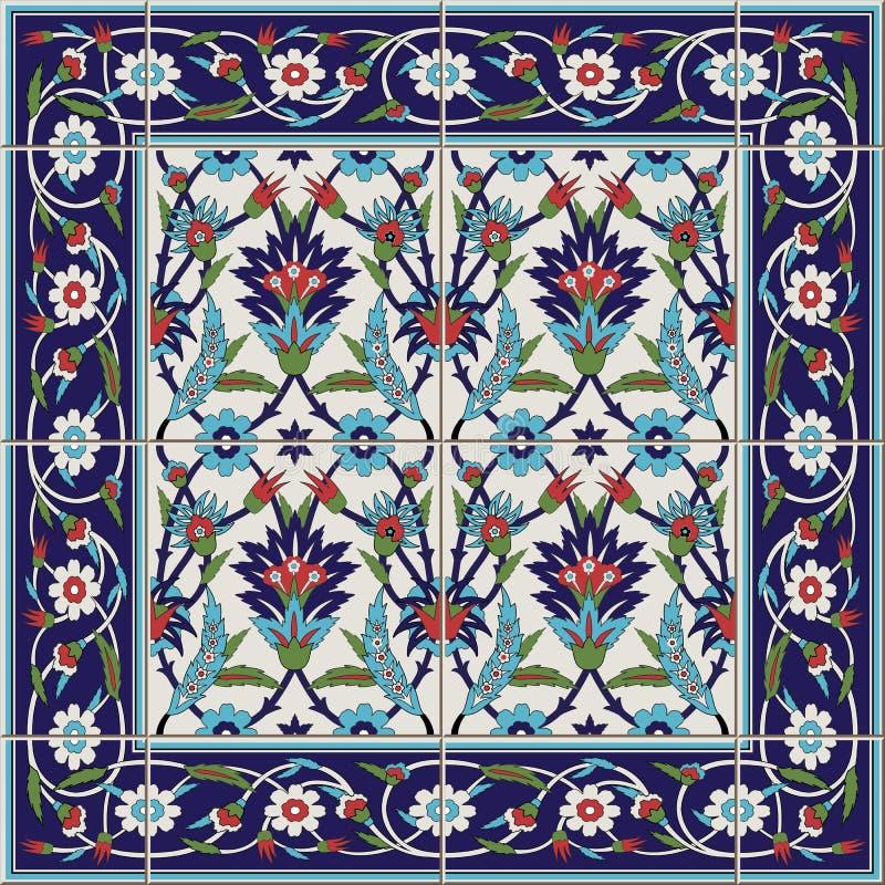 Modello senza cuciture splendido dalle mattonelle e dal confine Marocchino, portoghese, turco, ornamenti di Azulejo illustrazione vettoriale