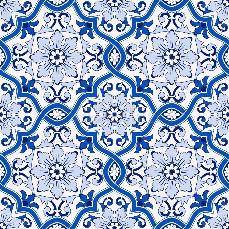 Modello senza cuciture splendido dalle mattonelle marocchine e portoghesi blu scuro e bianche, Azulejo, ornamenti può essere usat royalty illustrazione gratis