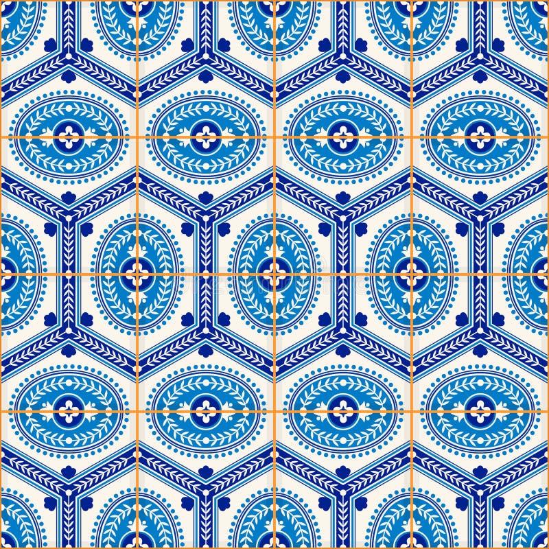 Modello senza cuciture splendido dalle mattonelle marocchine e portoghesi blu scuro e bianche, Azulejo, ornamenti royalty illustrazione gratis
