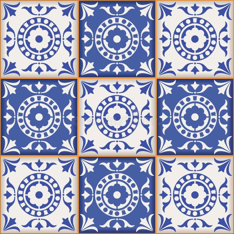 Modello senza cuciture splendido dalle mattonelle marocchine e portoghesi blu scuro e bianche, Azulejo, ornamenti illustrazione di stock