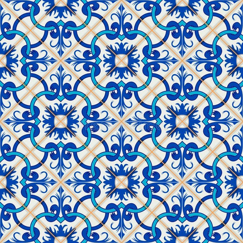 Modello senza cuciture splendido della rappezzatura dalle mattonelle marocchine e portoghesi blu scuro e bianche, Azulejo, orname royalty illustrazione gratis