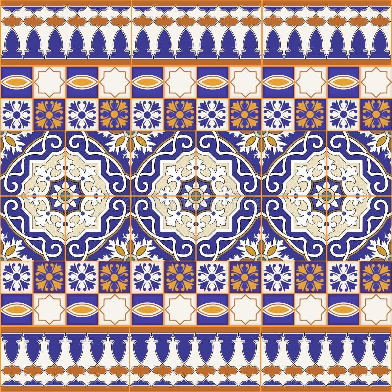 Modello senza cuciture splendido della rappezzatura dalle mattonelle marocchine variopinte illustrazione vettoriale