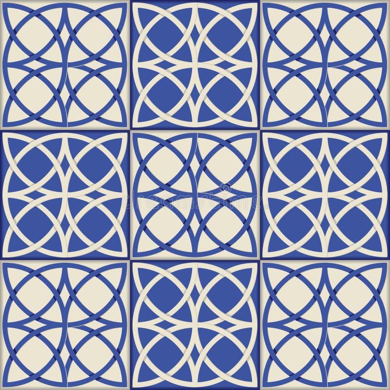 Modello senza cuciture splendido Mattonelle marocchine e portoghesi, Azulejo, ornamenti illustrazione vettoriale