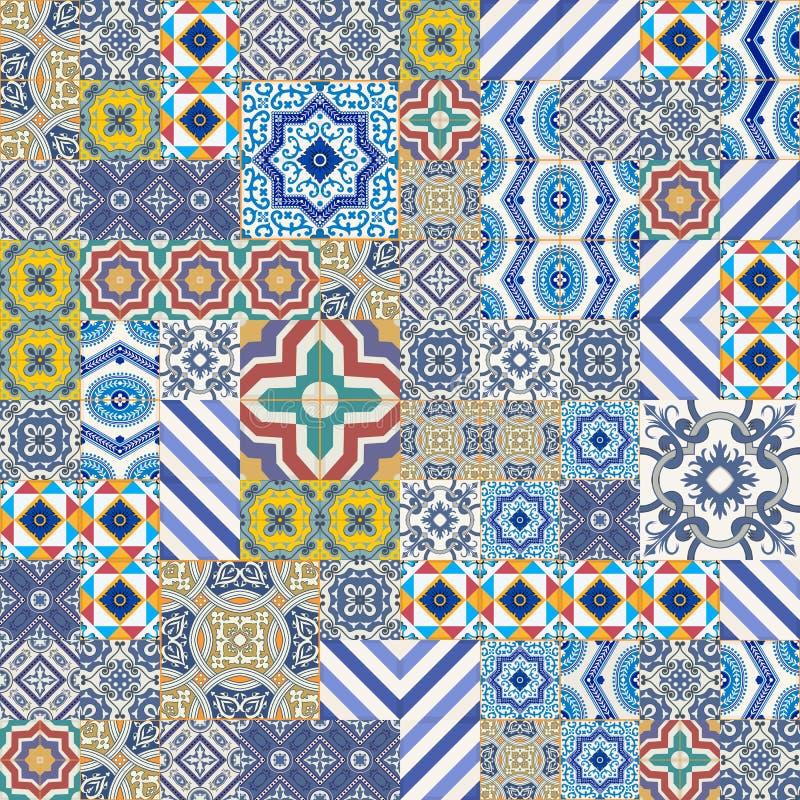 Modello senza cuciture splendido mega della rappezzatura dalle mattonelle marocchine e portoghesi variopinte, Azulejo, ornamenti illustrazione vettoriale
