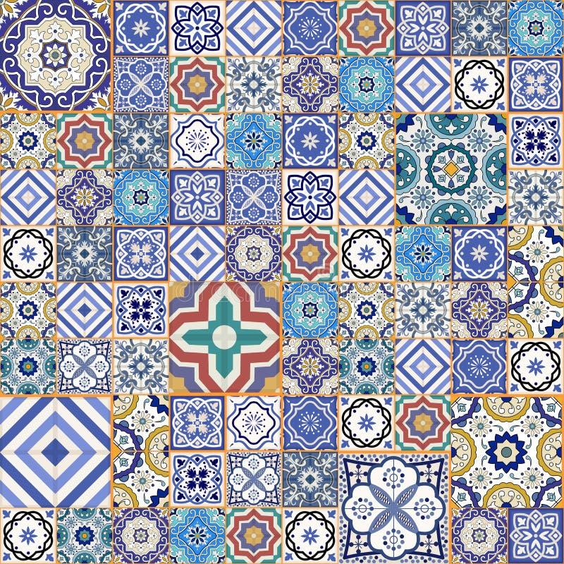 Modello senza cuciture splendido mega della rappezzatura dalle mattonelle marocchine variopinte, ornamenti illustrazione vettoriale