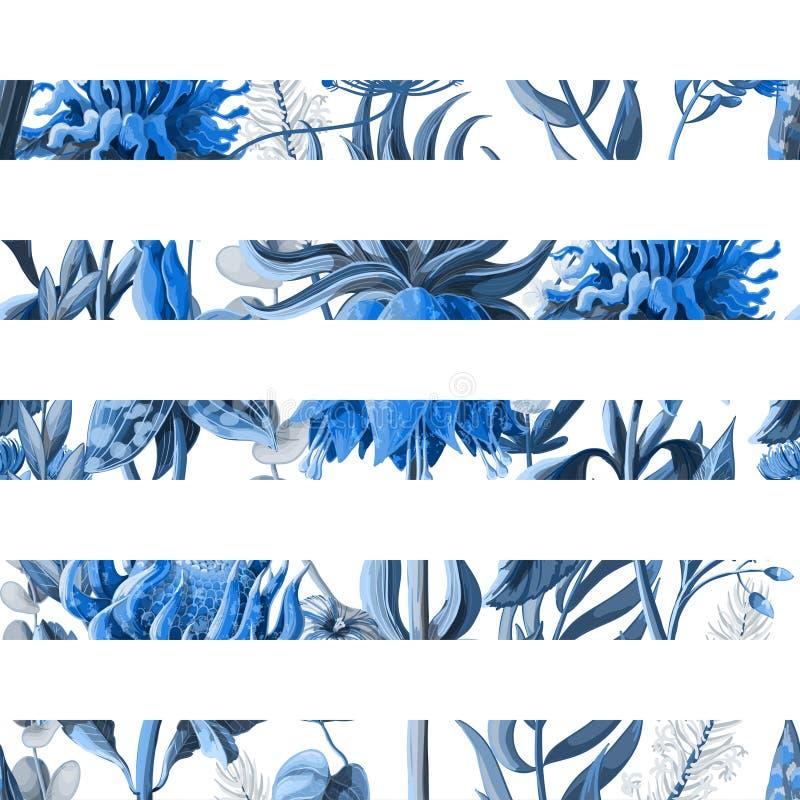 Modello senza cuciture a strisce con i fiori tropicali nel colore blu Illustrazione di vettore illustrazione vettoriale