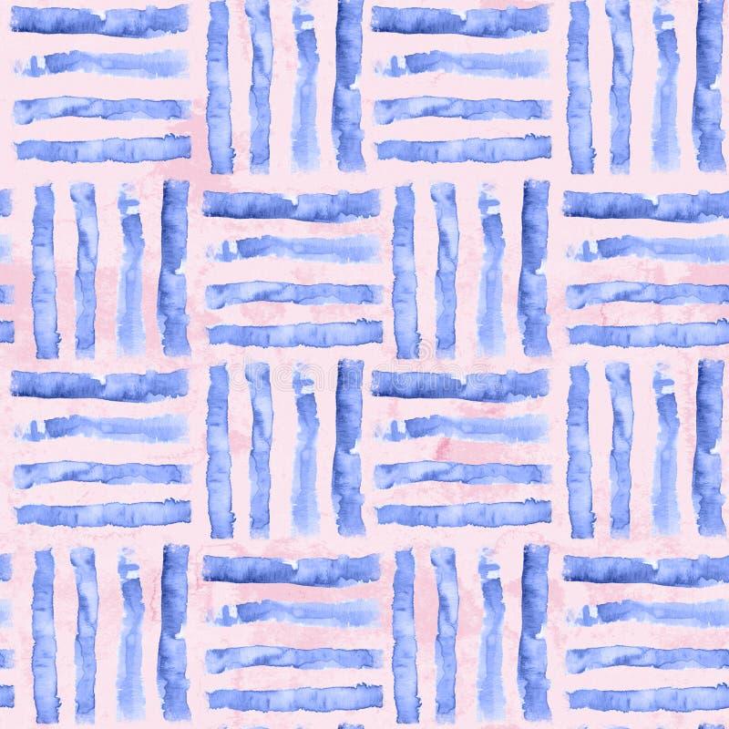 Modello senza cuciture a strisce dell'acquerello Linea artistica fondo illustrazione di stock