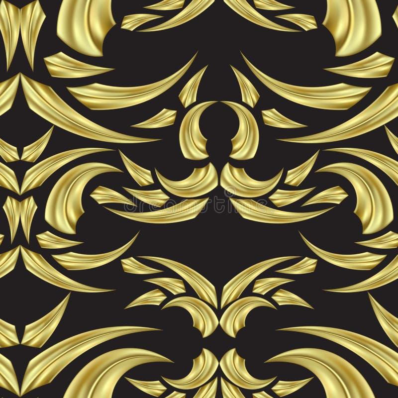 Modello senza cuciture su un fondo nero dei triangoli dell'oro con i punti culminanti royalty illustrazione gratis