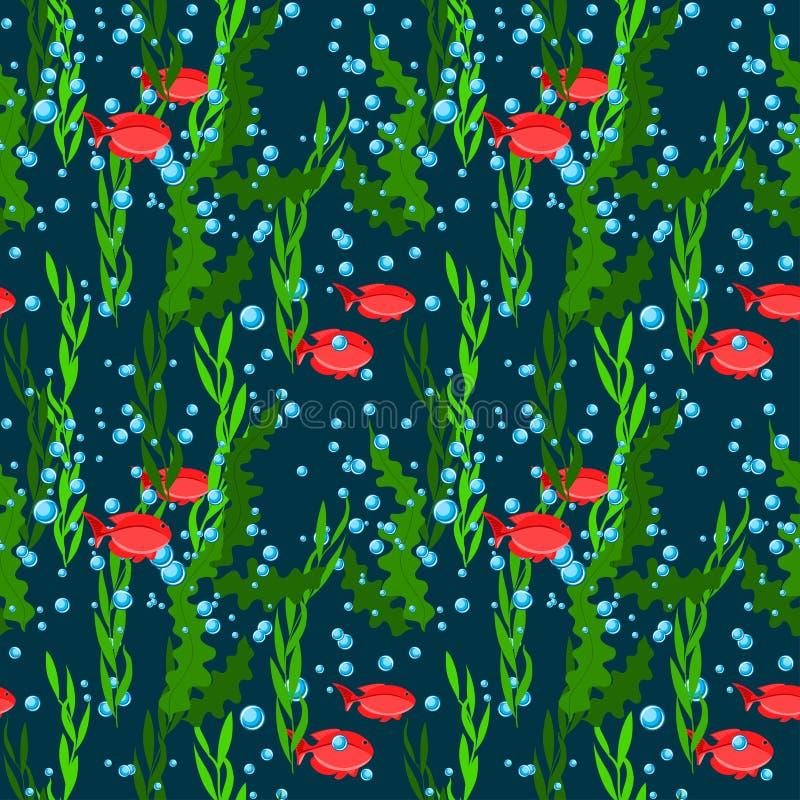 Modello senza cuciture subacqueo delle bolle dell'alga, del pesce e di aria del mare profondo su fondo blu scuro royalty illustrazione gratis