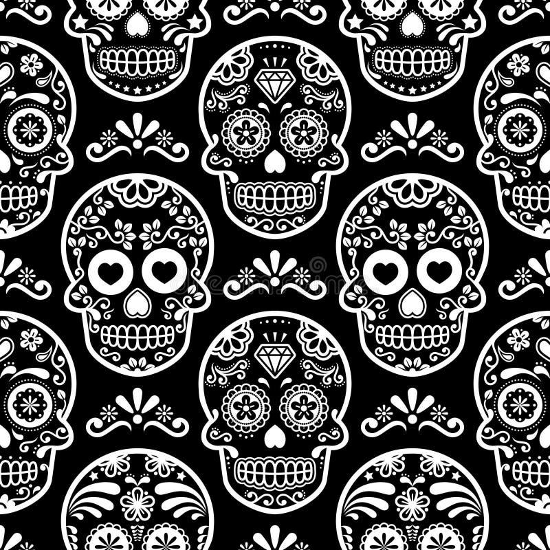 Modello senza cuciture sul nero, crani bianchi fondo, giorno della celebrazione morta, Calave del cranio messicano dello zucchero illustrazione vettoriale