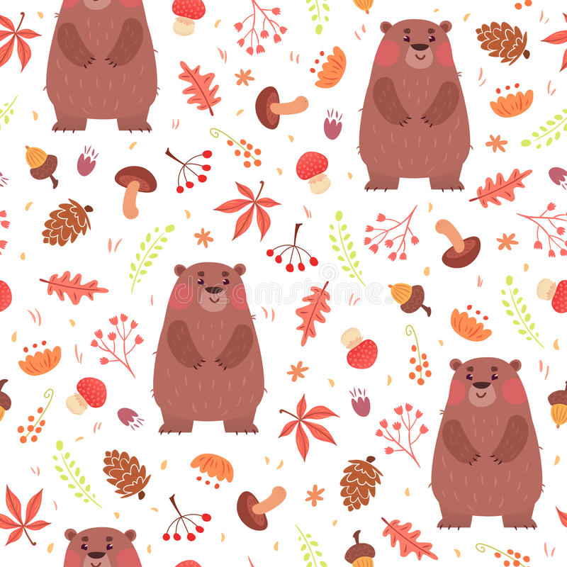 Modello senza cuciture sveglio con gli orsi in foresta royalty illustrazione gratis