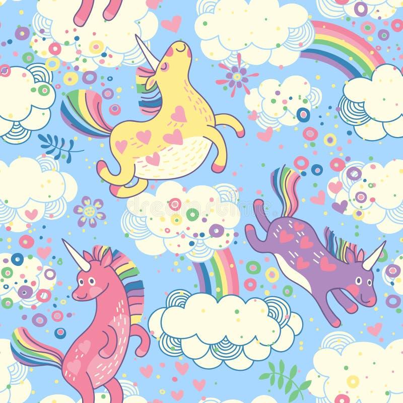 Modello senza cuciture sveglio con gli unicorni dell'arcobaleno illustrazione di stock