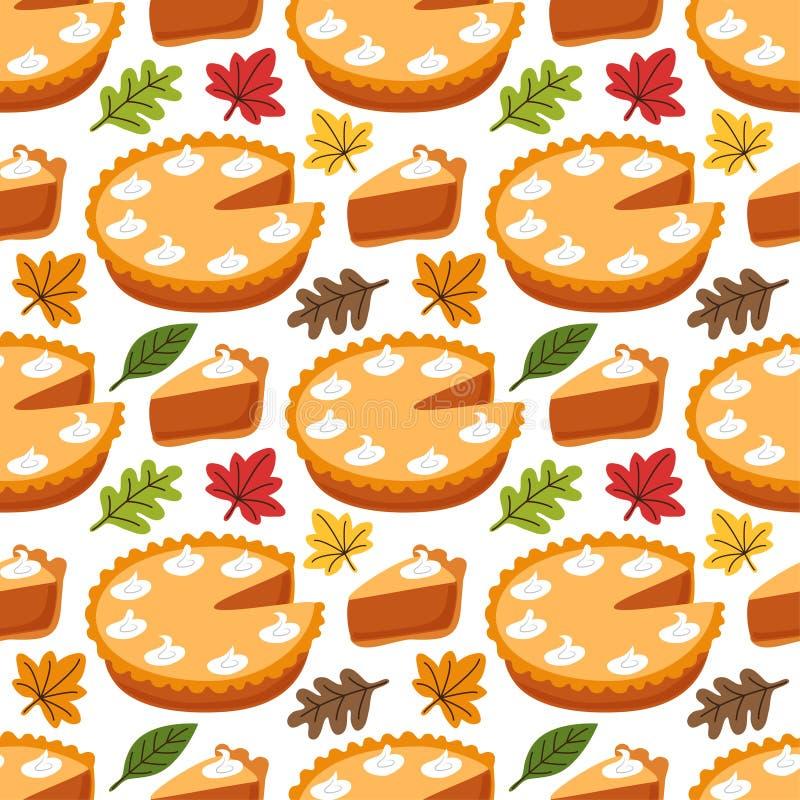 Modello senza cuciture sveglio con la torta di zucca e le foglie di autunno royalty illustrazione gratis