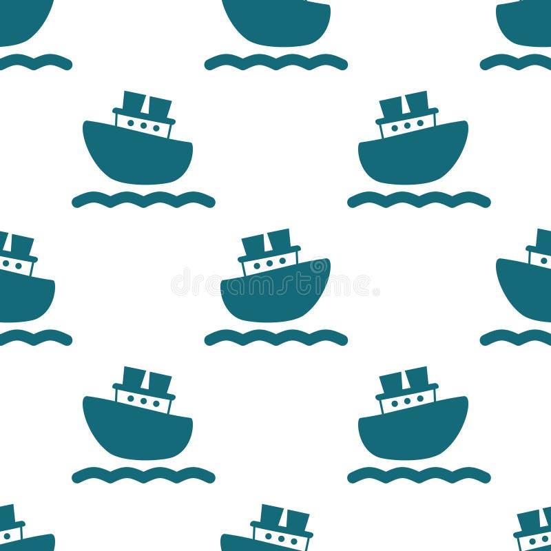 Modello senza cuciture sveglio con le barche e le onde blu royalty illustrazione gratis