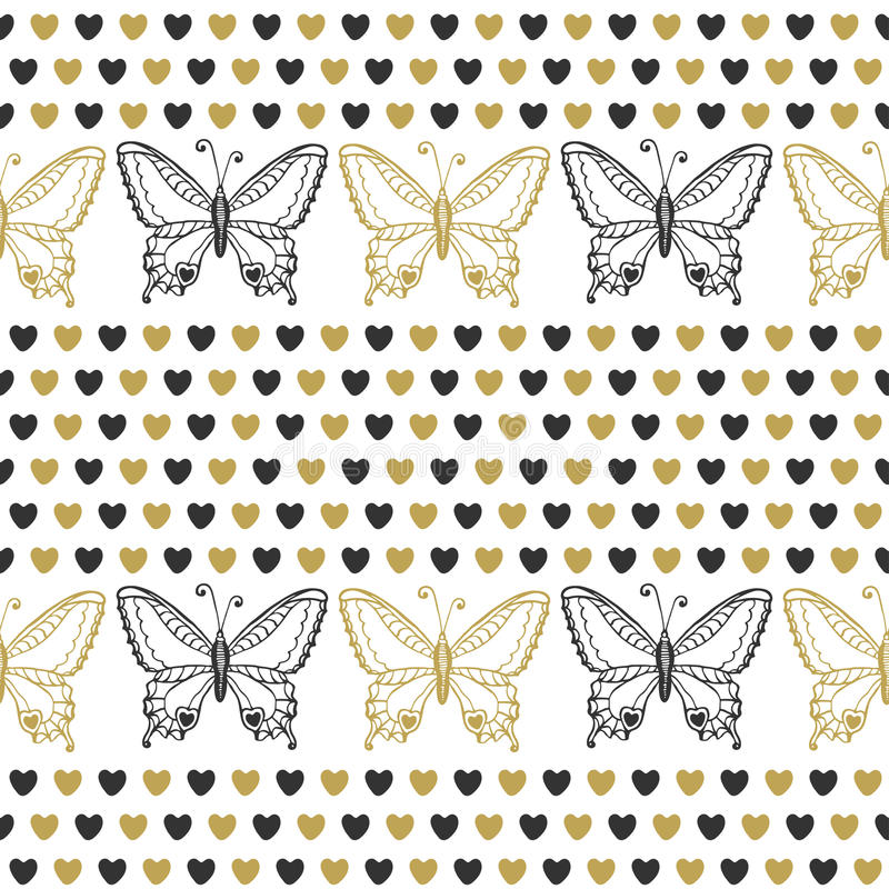 Modello senza cuciture sveglio con le farfalle ed il nero dei cuori ed i colori dell'oro Fondo disegnato a mano di vettore Può es illustrazione di stock