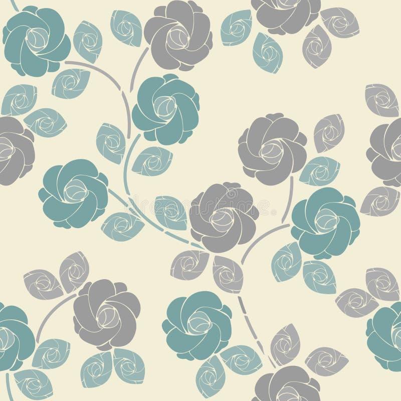 Modello senza cuciture sveglio con le rose e le foglie tenere illustrazione di stock