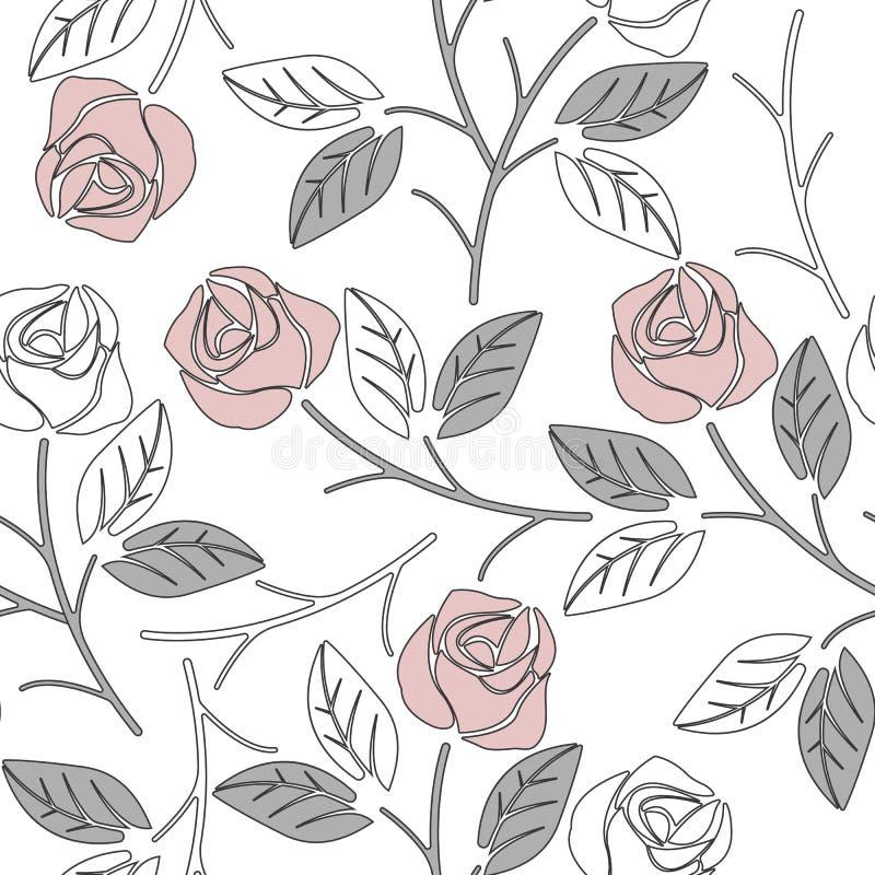Modello senza cuciture sveglio con le rose rosa e l'isolante grigio chiaro delle foglie illustrazione vettoriale