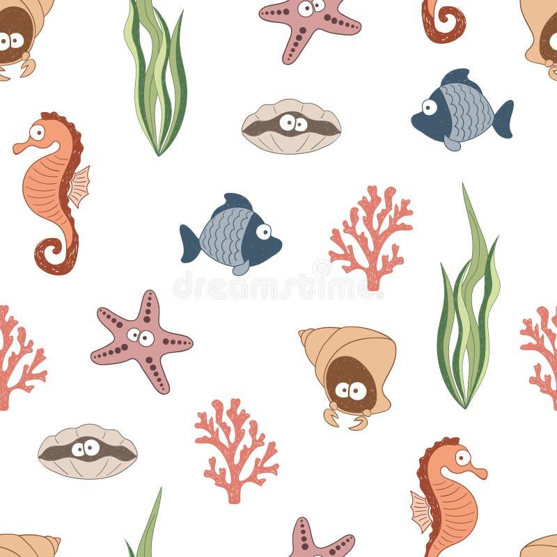 Modello senza cuciture sveglio degli animali di mare Disegni dei bambini, vita subacquea illustrazione vettoriale