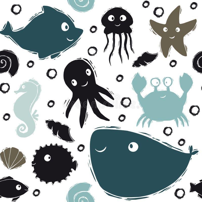 Modello senza cuciture sveglio del bambino del mare Delfino dolce, medusa, stelle marine, ippocampo, polipo, granchio, pesce dell illustrazione di stock