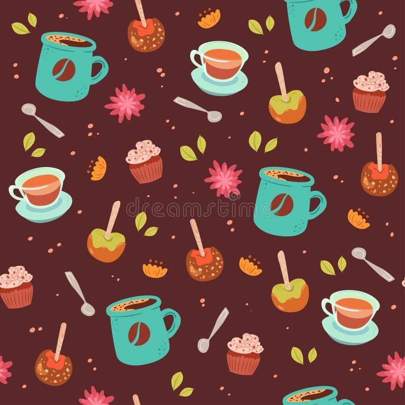 Modello senza cuciture sveglio del caffè e del tè royalty illustrazione gratis