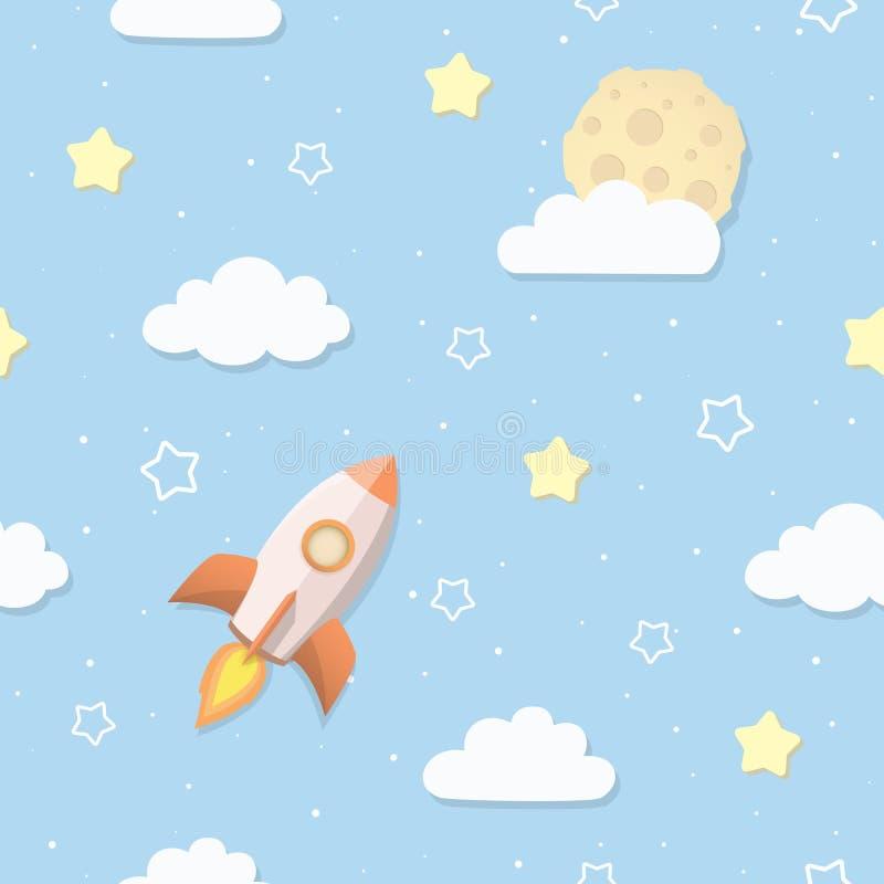 Modello senza cuciture sveglio del cielo con la luna piena, le nuvole, le stelle ed il razzo Razzo di spazio del fumetto che vola illustrazione vettoriale