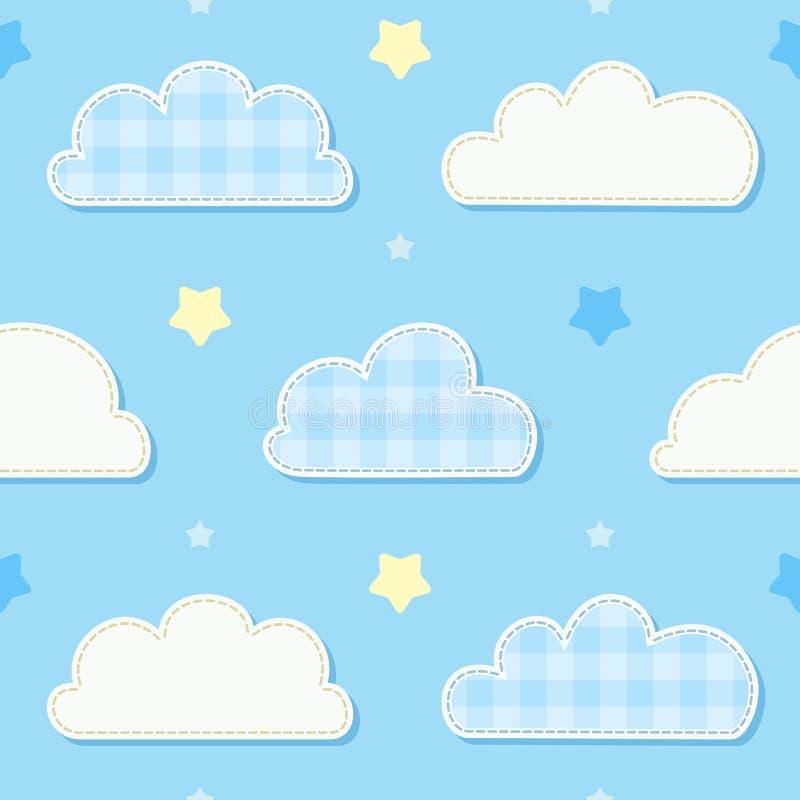 Modello senza cuciture sveglio del cielo con le nuvole e le stelle Camera da letto del ` s dei bambini, carta da parati decorativ royalty illustrazione gratis