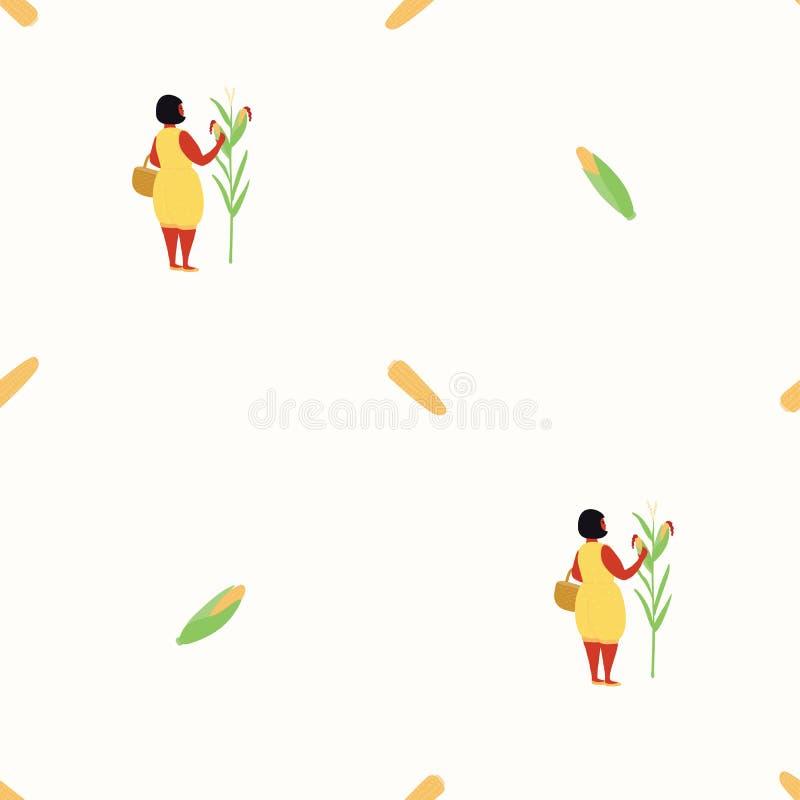 Modello senza cuciture sveglio del raccolto di cereale illustrazione vettoriale