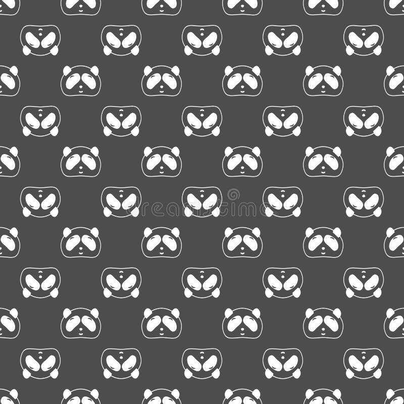 Modello senza cuciture sveglio dell'orso di panda, fondo in bianco e nero Illustrazione di vettore Testa e fronte del panda Proge royalty illustrazione gratis