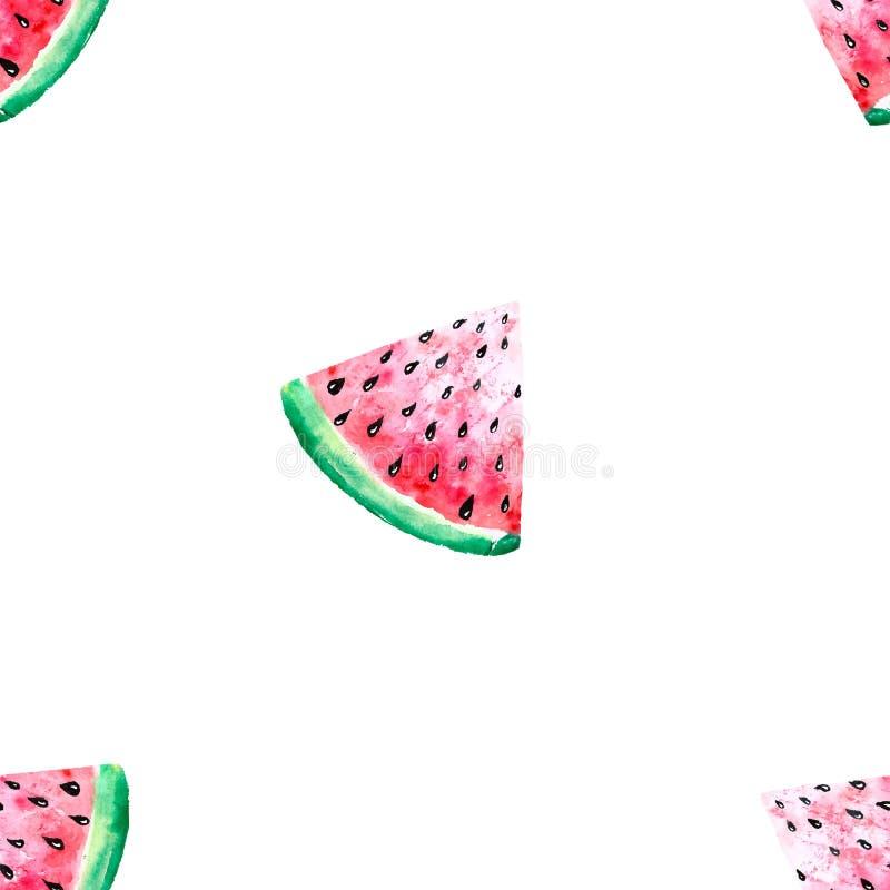 Modello senza cuciture sveglio di estate dell'acquerello con le fette ed i semi succosi dell'anguria su fondo bianco Illustrazion illustrazione vettoriale