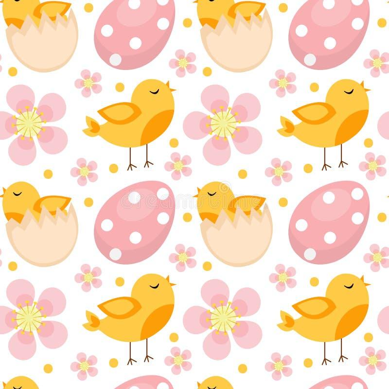 Modello senza cuciture sveglio di Pasqua con gli uccelli e le uova Fondo senza fine della primavera, struttura, carta digitale Il illustrazione di stock