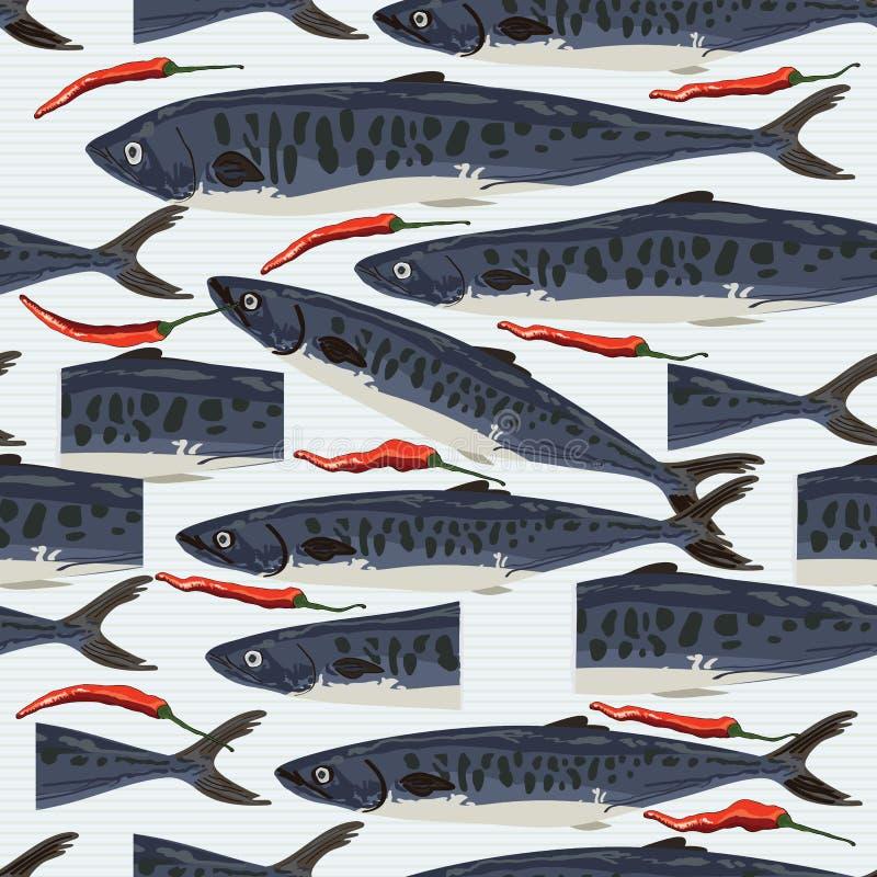 Modello senza cuciture tagliato pesce di vendita dei barracuda royalty illustrazione gratis