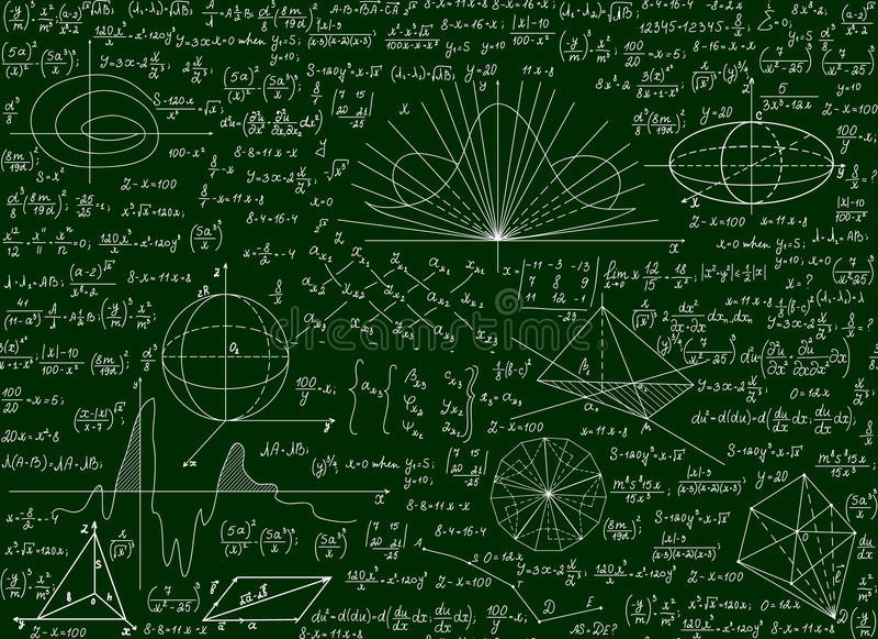 Modello senza cuciture tecnico scientifico di vettore matematico con le formule scritte a mano, calcoli, equazioni su un fondo ve illustrazione vettoriale