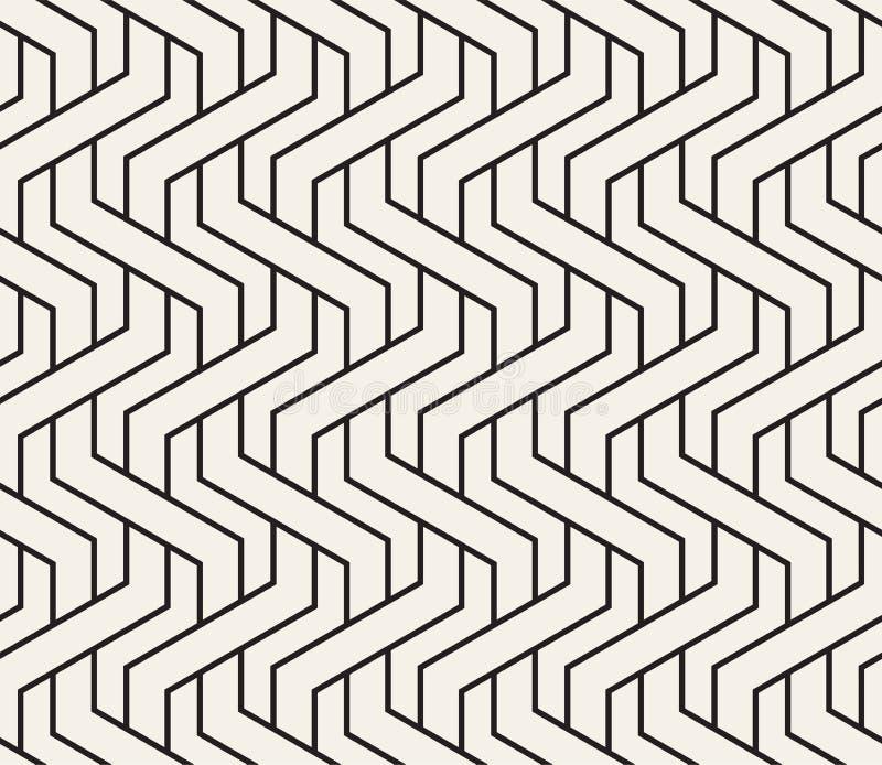 Modello senza cuciture tessuto vettore Struttura d'intreccio alla moda Linee intrecciate geometriche decorative illustrazione vettoriale