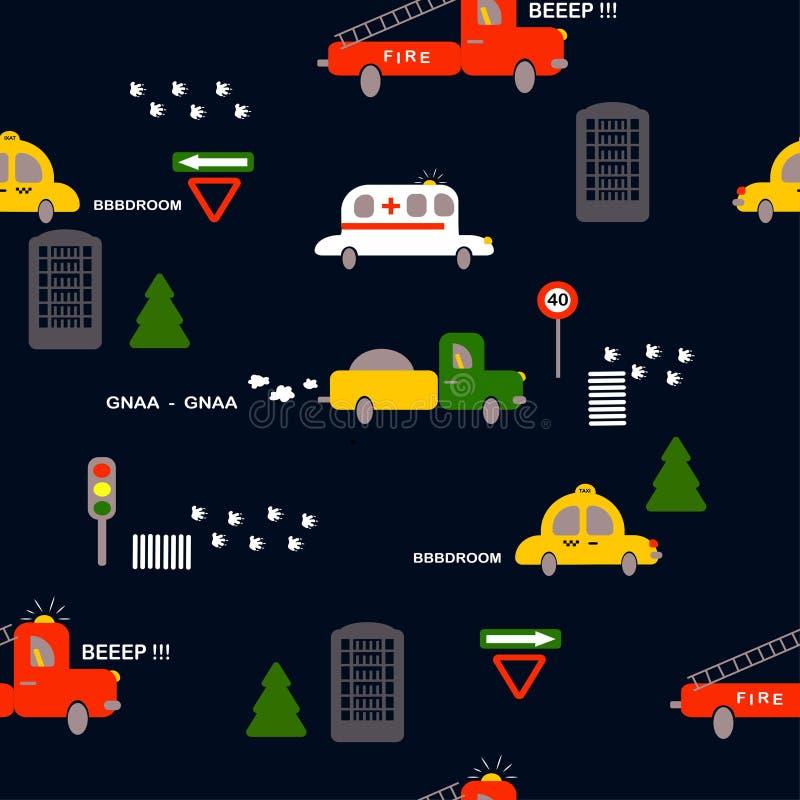Modello senza cuciture: trasporto: taxi, ambulanza, fuoco, camion, alberi, case, segni su un fondo scuro Vettore piano Illustrazi illustrazione di stock