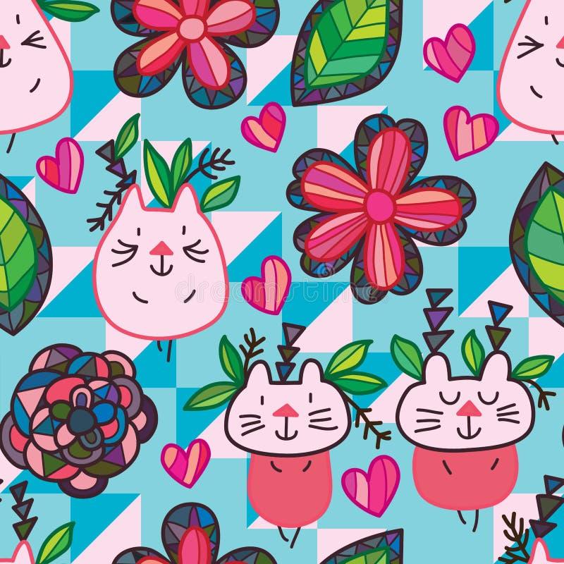 Modello senza cuciture tribale della foglia del fiore del gatto illustrazione di stock