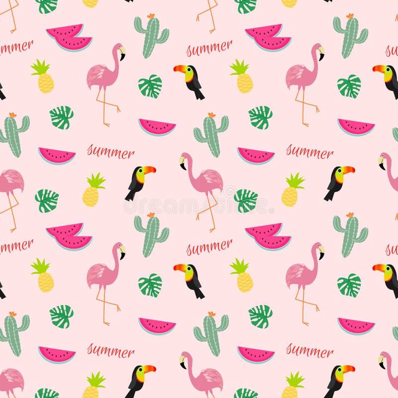 Modello senza cuciture tropicale con i fenicotteri, i tucani, i cactus ed i frutti tropicali royalty illustrazione gratis