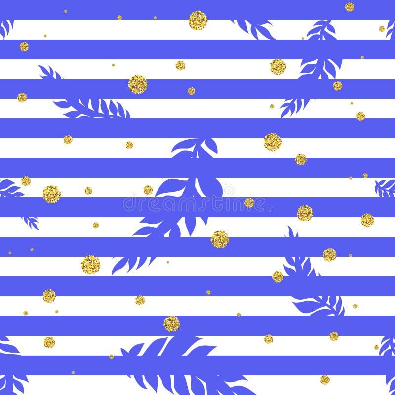 Modello senza cuciture tropicale con i punti e le foglie di palma dell'oro illustrazione vettoriale