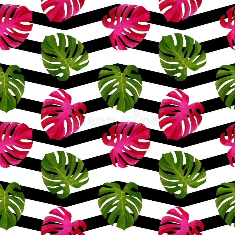 Modello senza cuciture tropicale con le foglie di Monstera Fondo alla moda illustrazione vettoriale