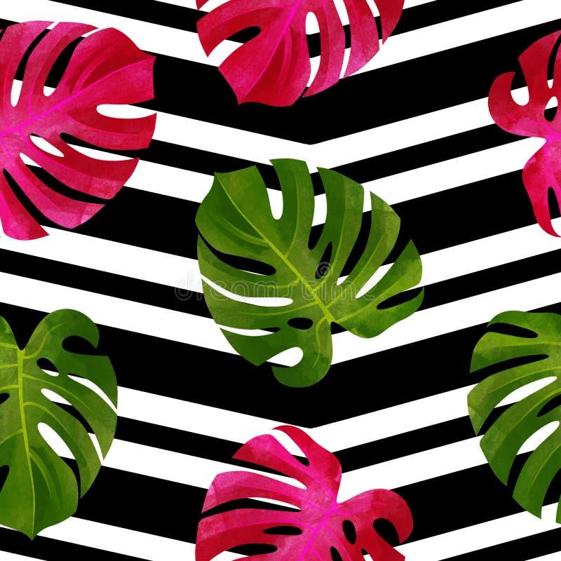 Modello senza cuciture tropicale con le foglie di Monstera Fondo alla moda royalty illustrazione gratis